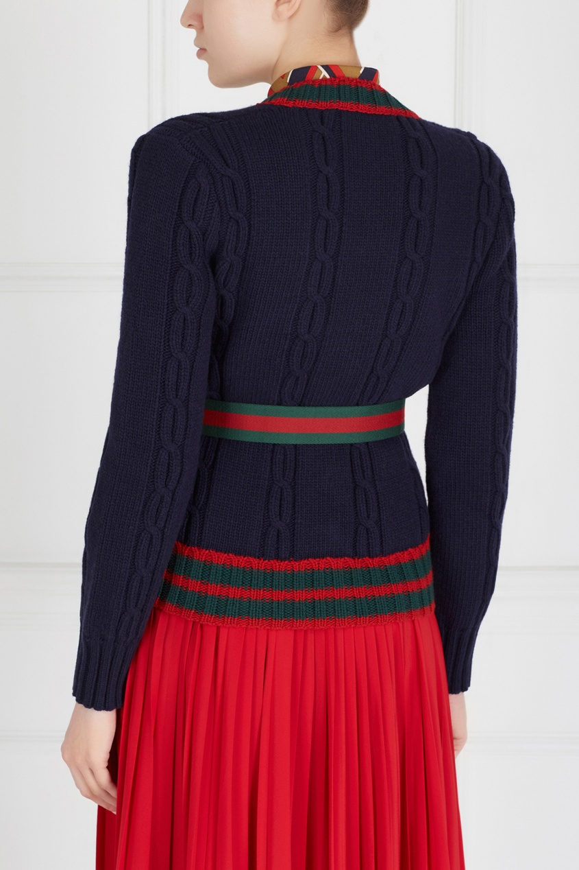Фото 6 - Шерстяной кардиган от Gucci черного цвета