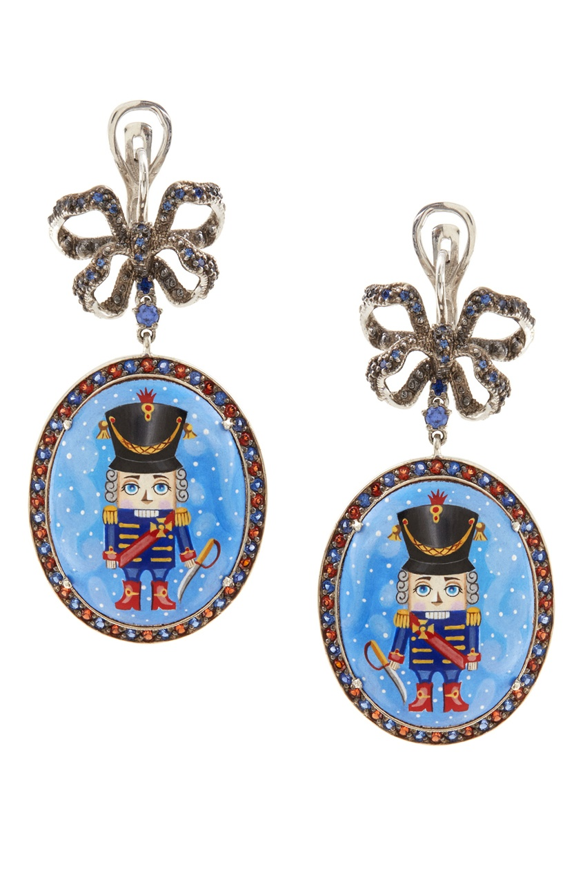 Серебряные серьги «Щелкунчик» с голубыми топазами и гранатами