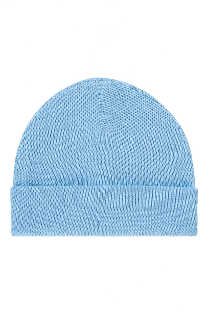 Фото 2 - Шерстяная шапка голубого цвета