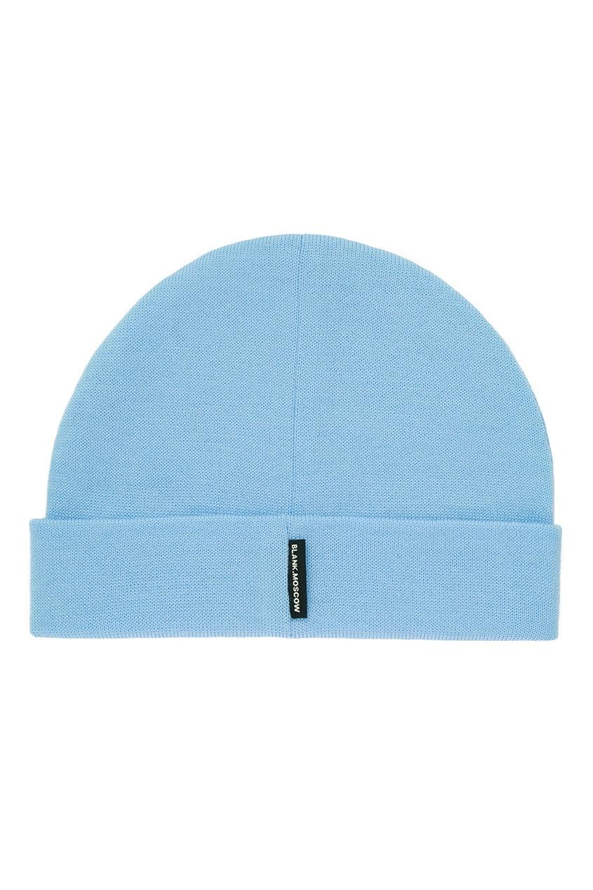 Фото 3 - Шерстяная шапка голубого цвета