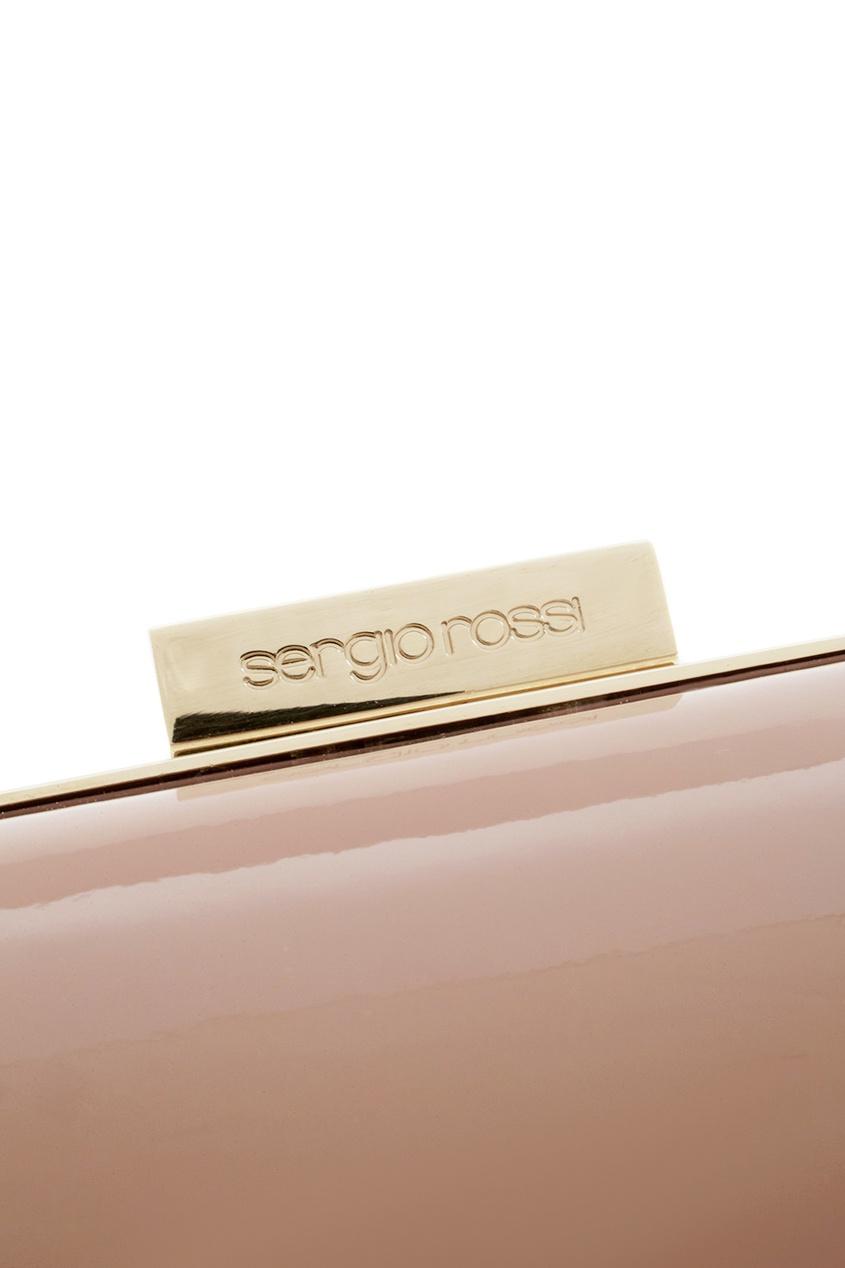 Фото 7 - Кожаный клатч от Sergio Rossi бежевого цвета