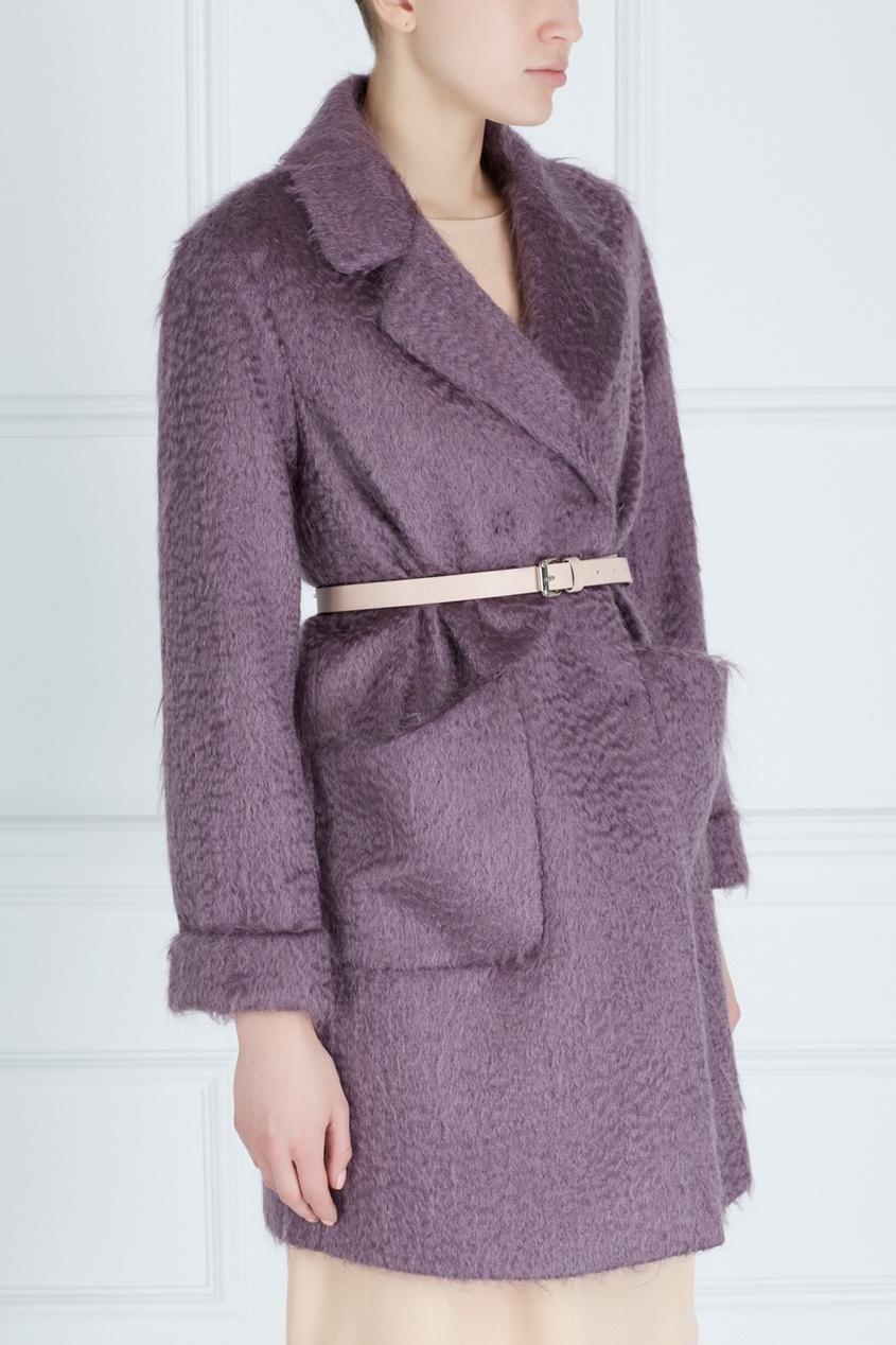 Фото 2 - Пальто из мохера и шерсти от Victoria Andreyanova фиолетового цвета