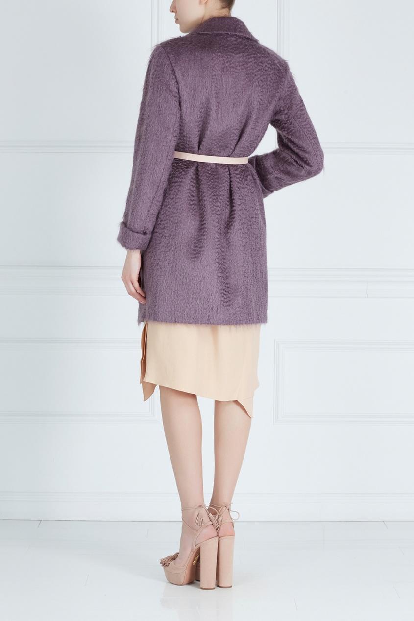 Фото 4 - Пальто из мохера и шерсти от Victoria Andreyanova фиолетового цвета