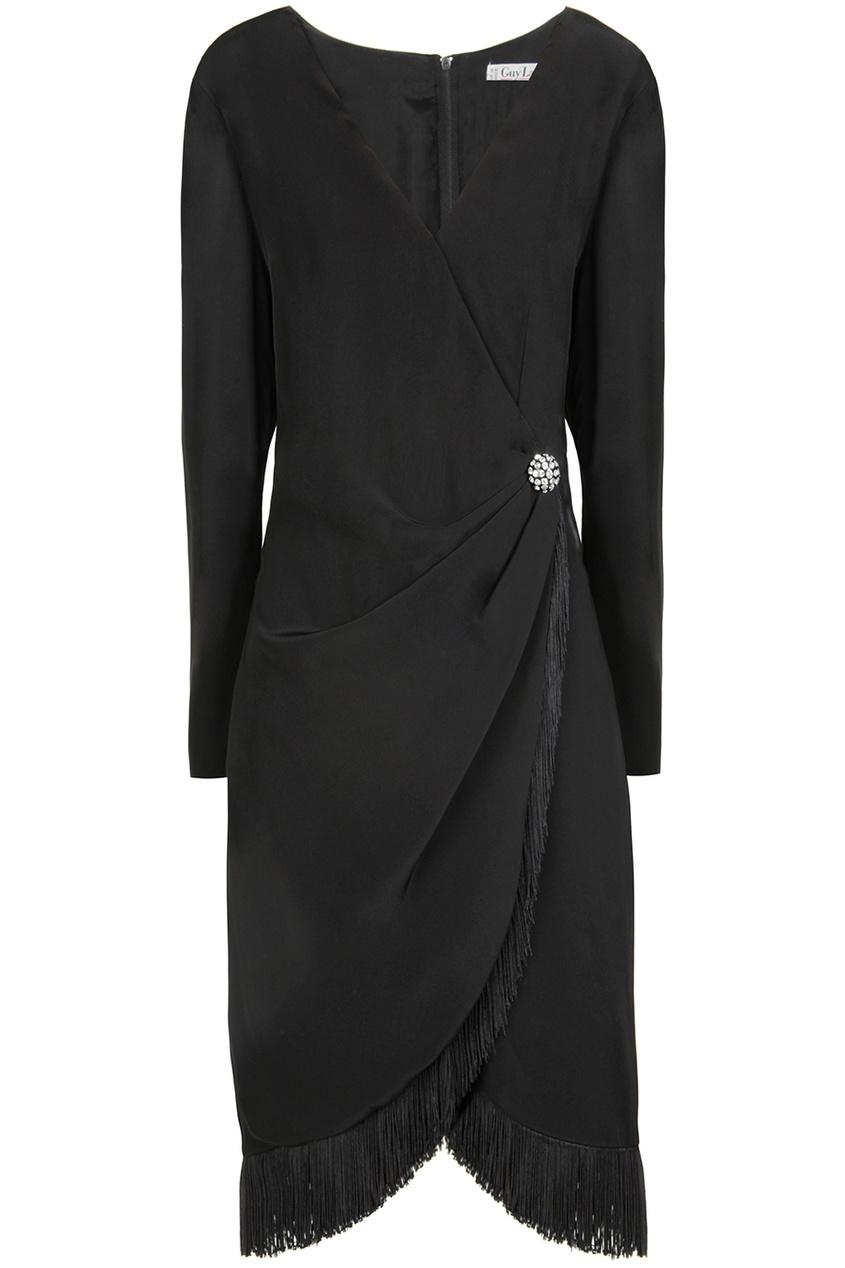 Guy Laroche Vintage Платье с запахом и бахромой (80-е)