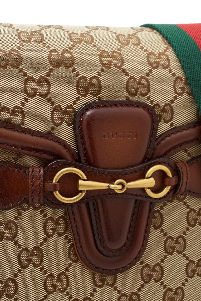 Фото 5 - Сумку Lady Web GG от Gucci бежевого цвета