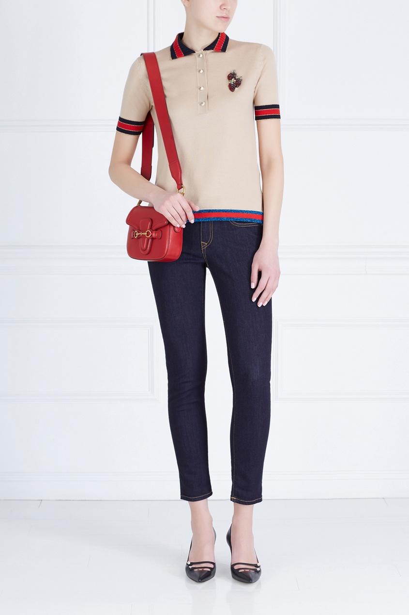 Кожаная сумка Lady Web GG