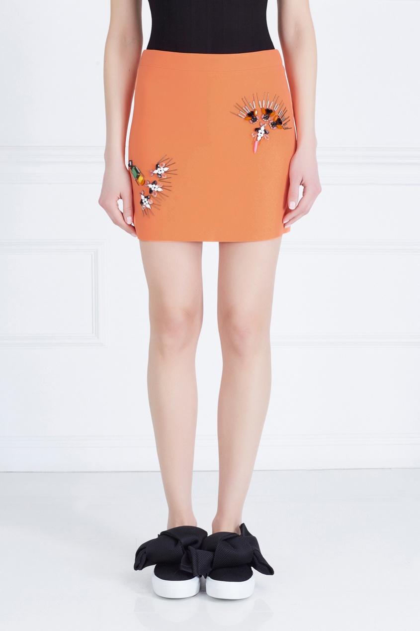Фото 3 - Юбку с вышивкой от Stella McCartney оранжевого цвета