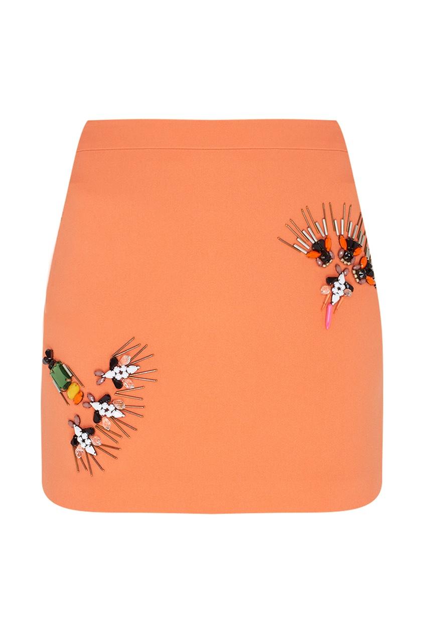 Фото 5 - Юбку с вышивкой от Stella McCartney оранжевого цвета