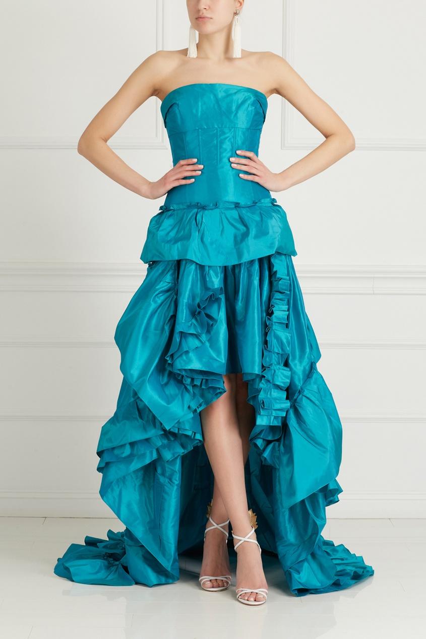 Oscar de la Renta Шелковое платье-бюстье