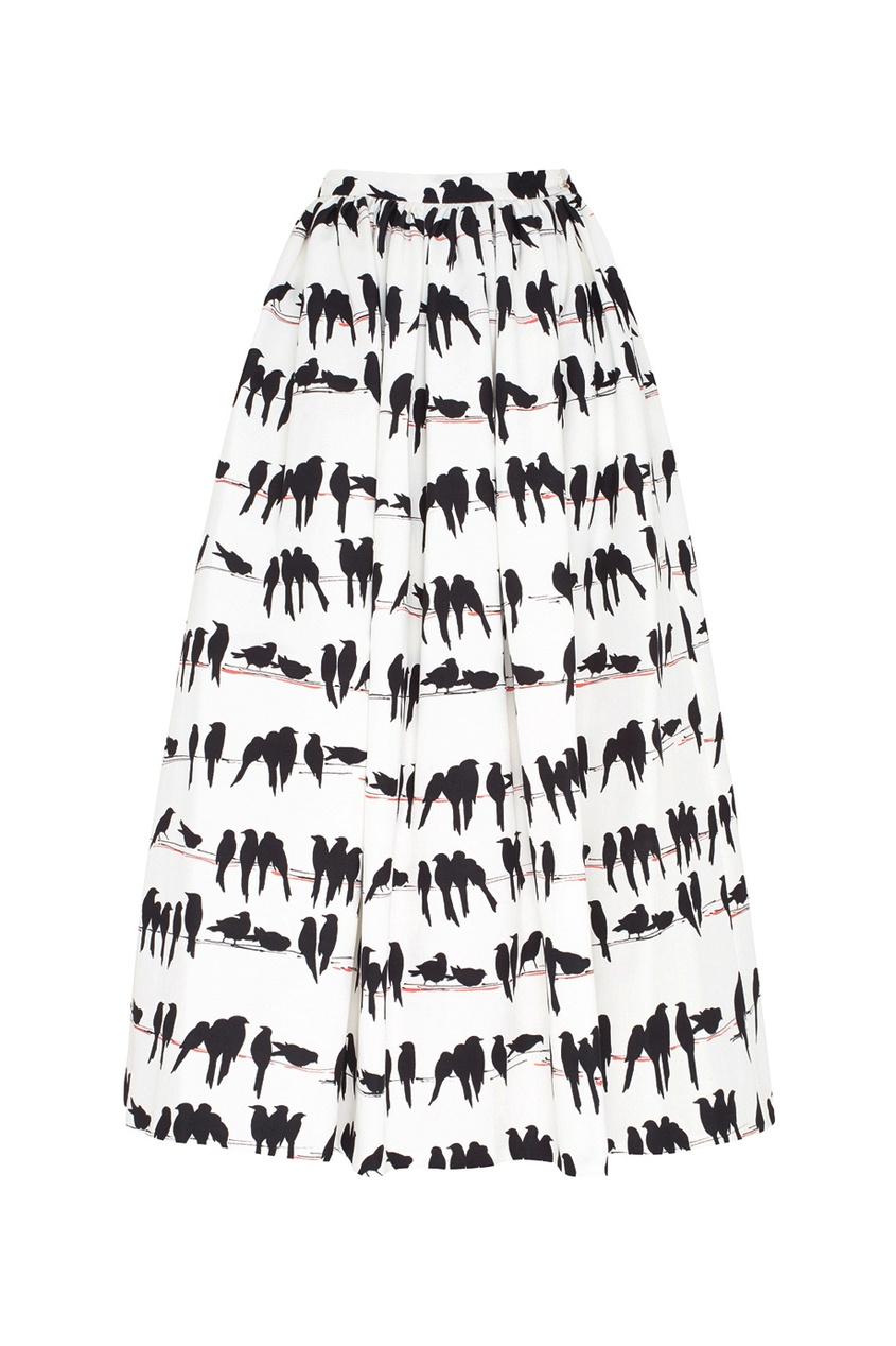 Фото - Хлопковая юбка от Chapurin черно-белого цвета