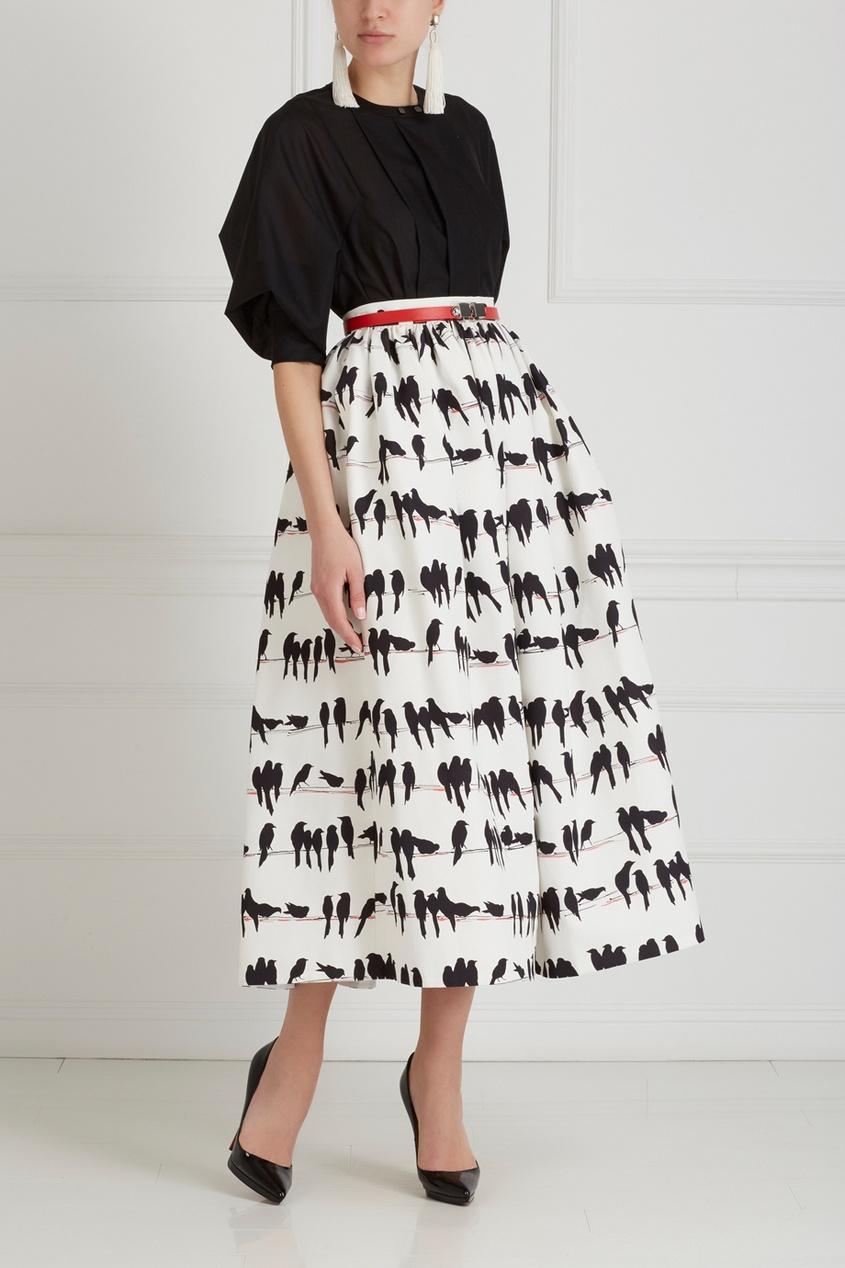 Фото 3 - Хлопковая юбка от Chapurin черно-белого цвета