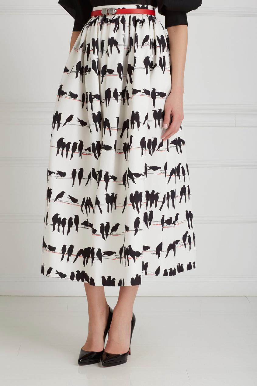 Фото 4 - Хлопковая юбка от Chapurin черно-белого цвета
