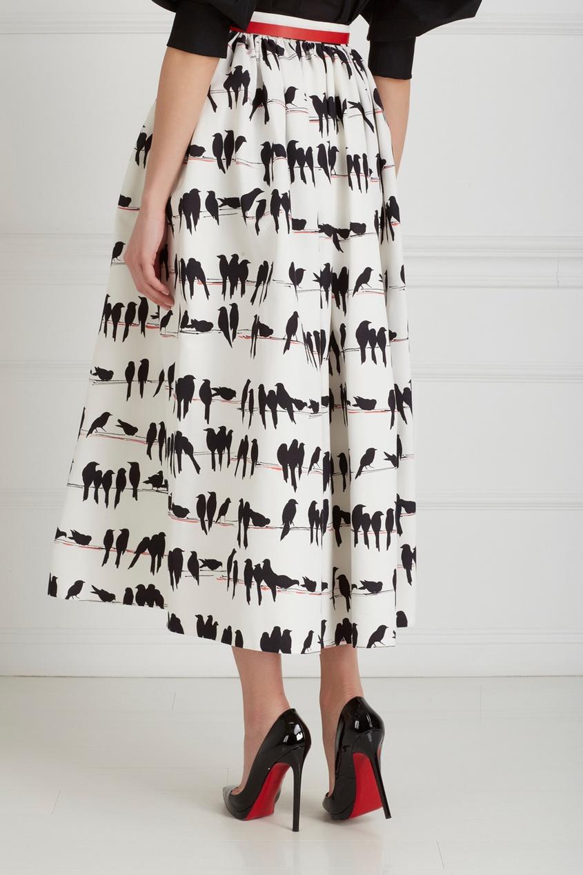 Фото 5 - Хлопковая юбка от Chapurin черно-белого цвета