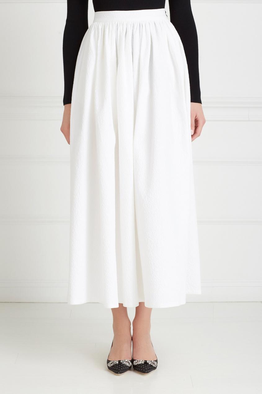 Фото 3 - Хлопковая юбка от Chapurin белого цвета