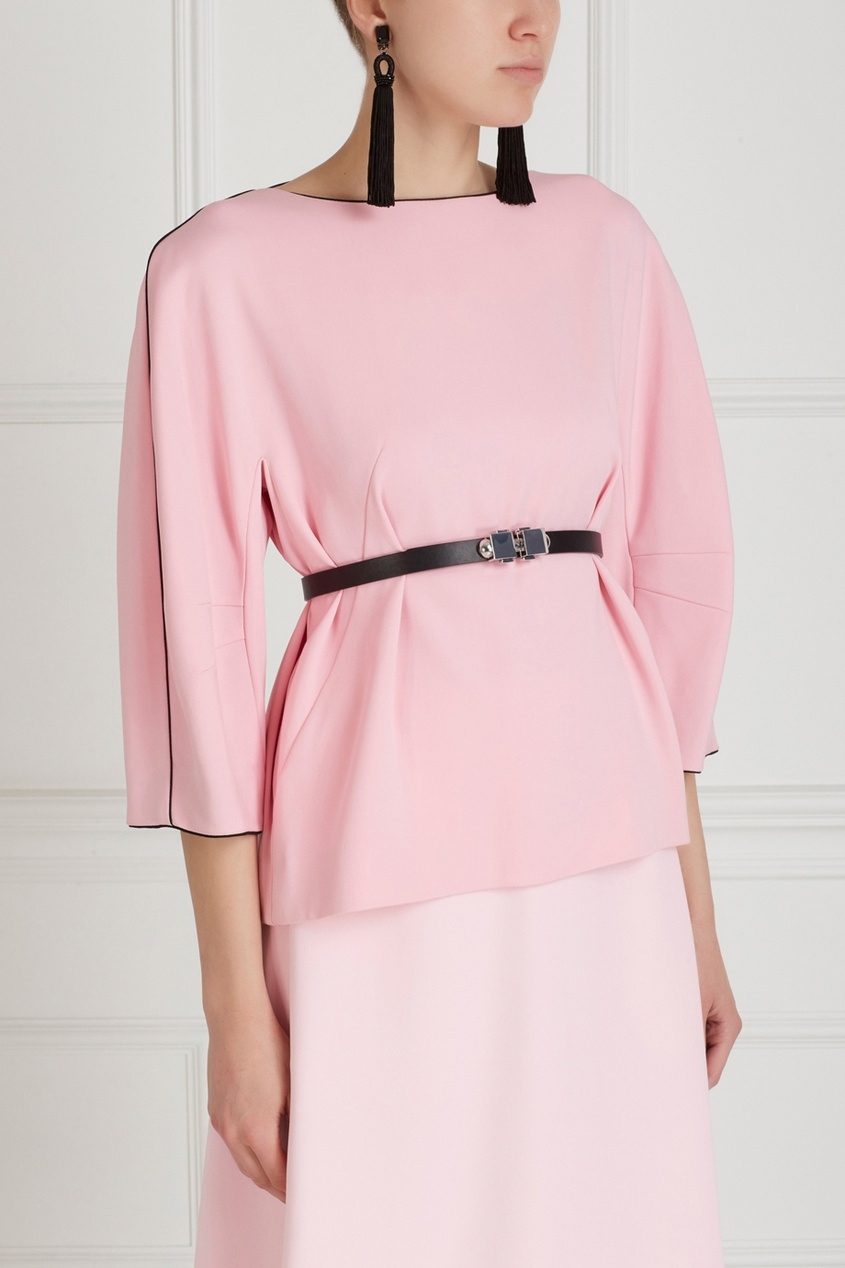 Фото 4 - Однотонная блузка от Chapurin розового цвета