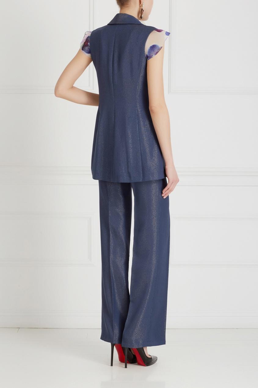 Фото 4 - Однотонные брюки от Chapurin синего цвета