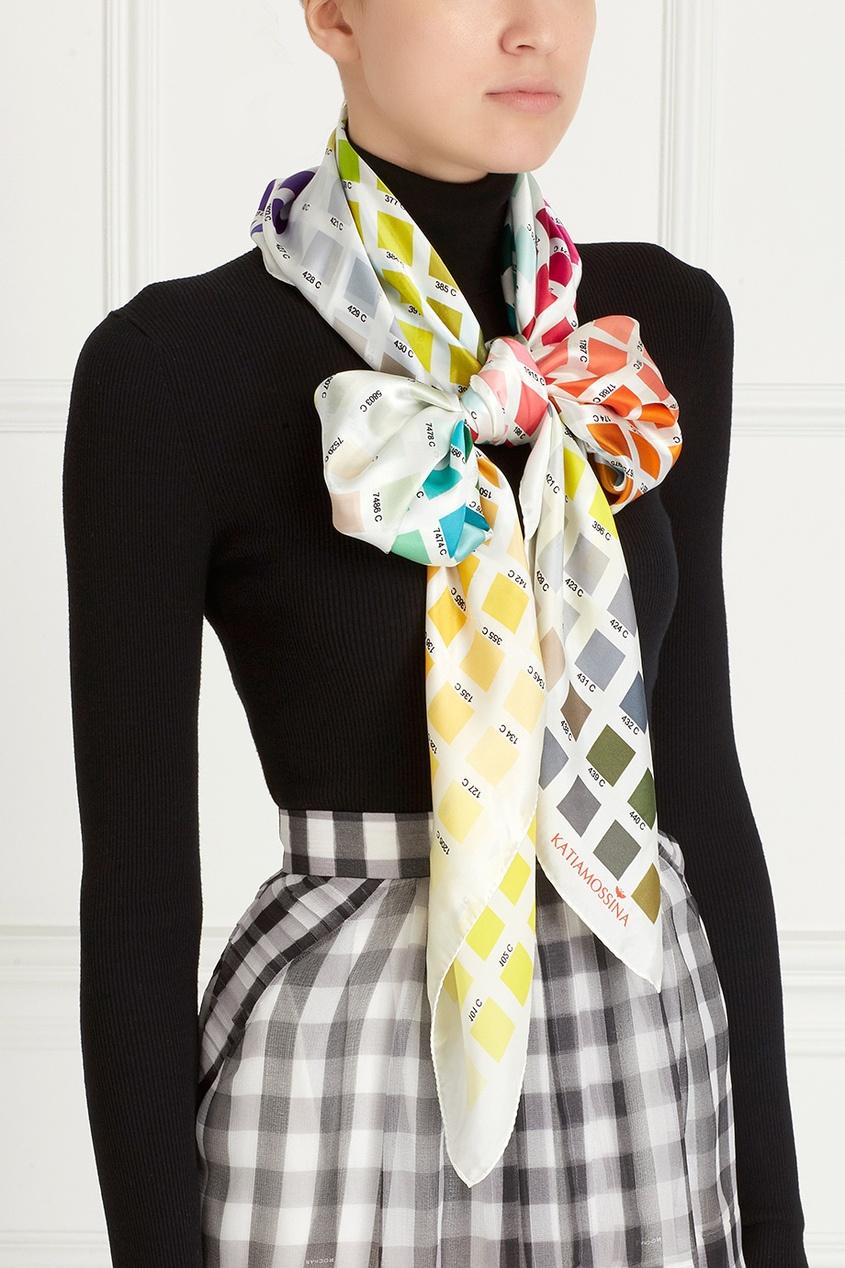 Шелковый платок с принтом