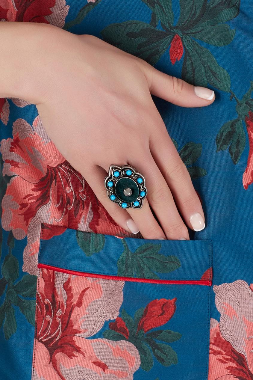 Кольцо с кабошонами