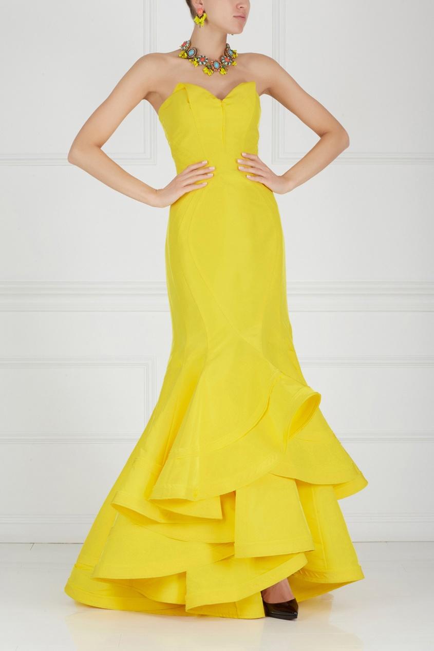 Zac Posen Шелковое платье в пол цены онлайн