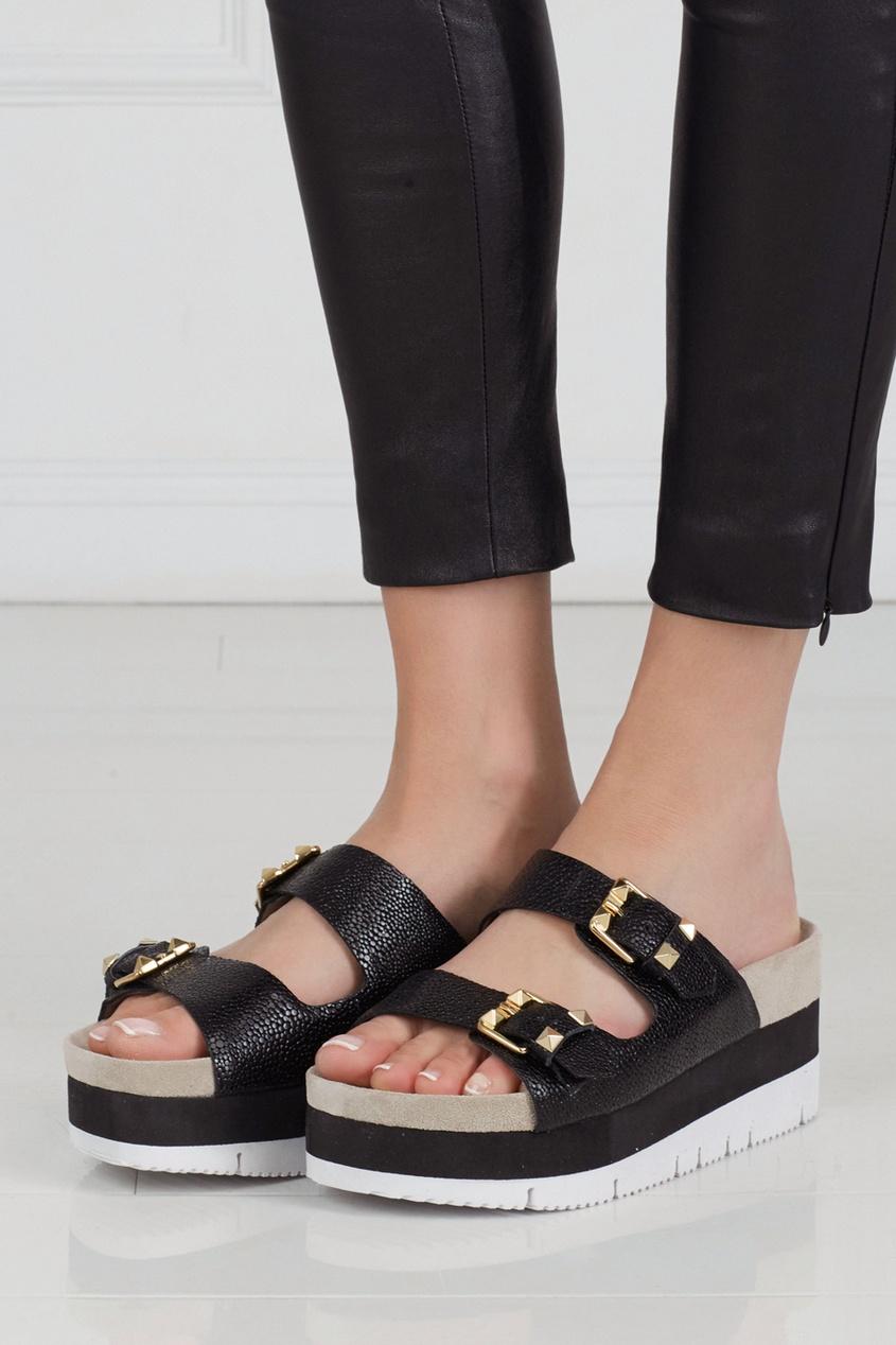Фото 5 - Кожаные сандалии Viola черного цвета