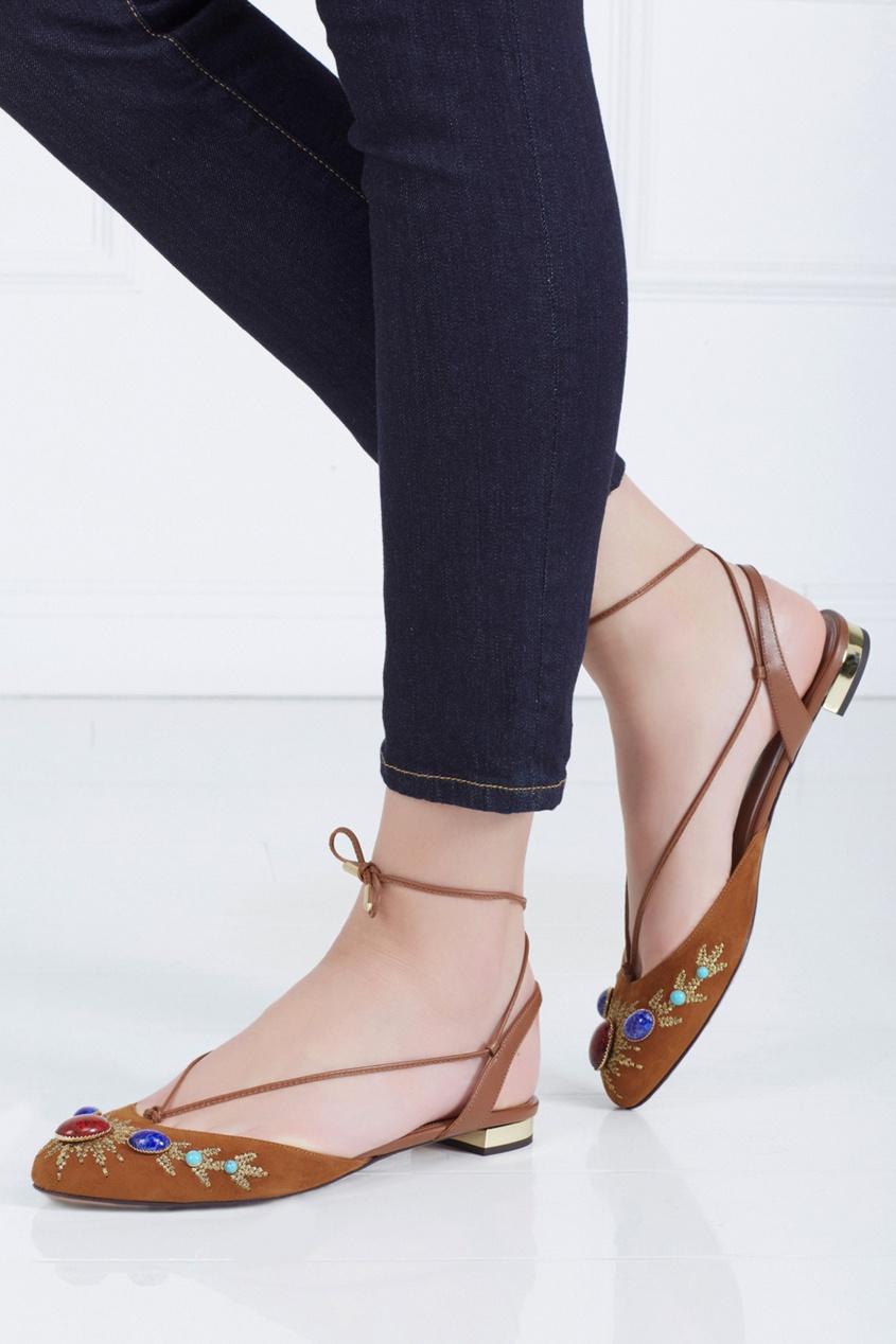 Aquazzura Кожаные сандалии Desert Stone