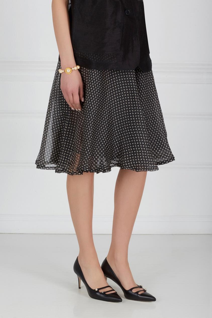 Фото 2 - Шелковая юбка (90-е) от Gianni Versace Vintage черно-белого цвета