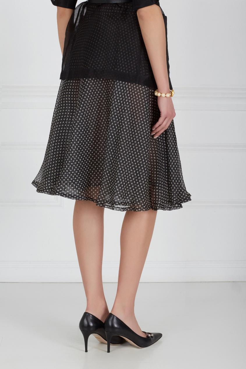 Фото 3 - Шелковая юбка (90-е) от Gianni Versace Vintage черно-белого цвета