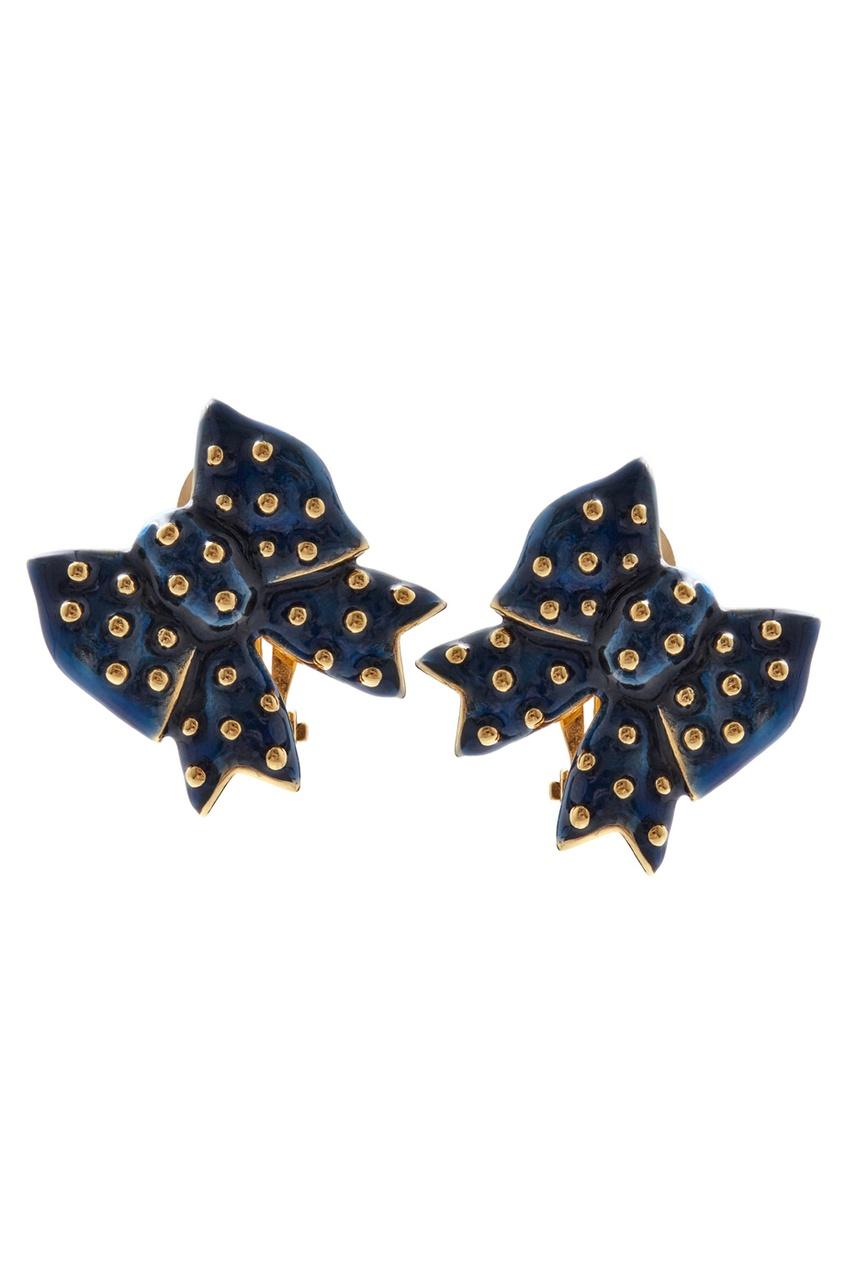 Фото 2 - Клипсы (80-е) от Nina Ricci Vintage синего цвета