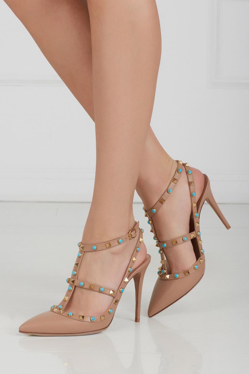 Кожаные туфли с бирюзой Rockstud Rolling