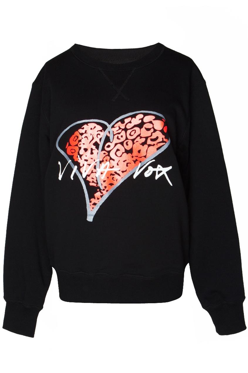 Черная толстовка с красным принтом-сердцем Viva Vox. Цвет: черный