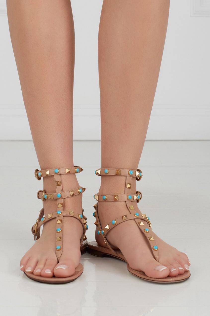 Кожаные сандалии Rockstud Rolling