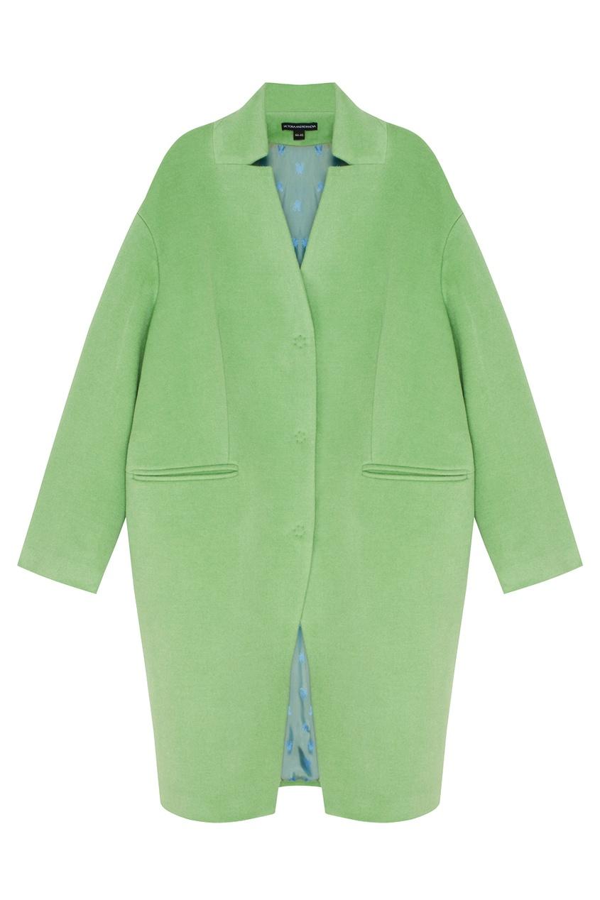 Фото 5 - Шерстяное пальто от Victoria Andreyanova зеленого цвета