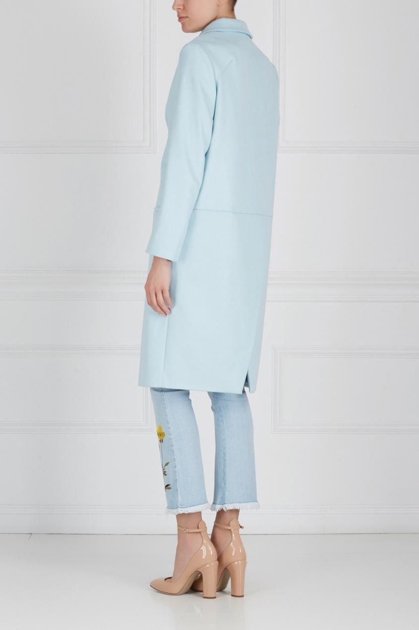 Фото 2 - Шерстяное пальто от Victoria Andreyanova голубого цвета