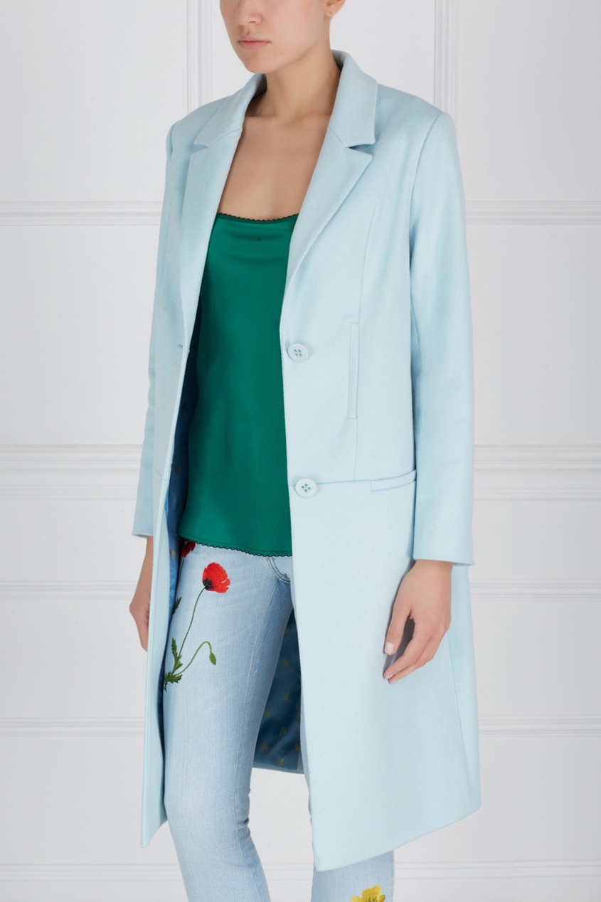Фото 3 - Шерстяное пальто от Victoria Andreyanova голубого цвета