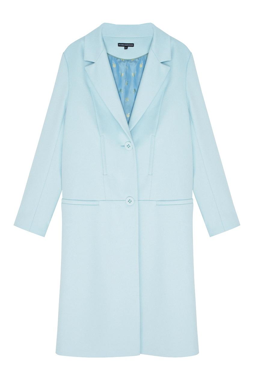 Фото 5 - Шерстяное пальто от Victoria Andreyanova голубого цвета