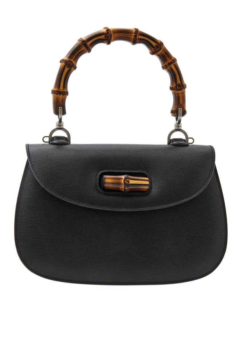 Фото - Кожаная сумка Bamboo Classic Blooms от Gucci черного цвета