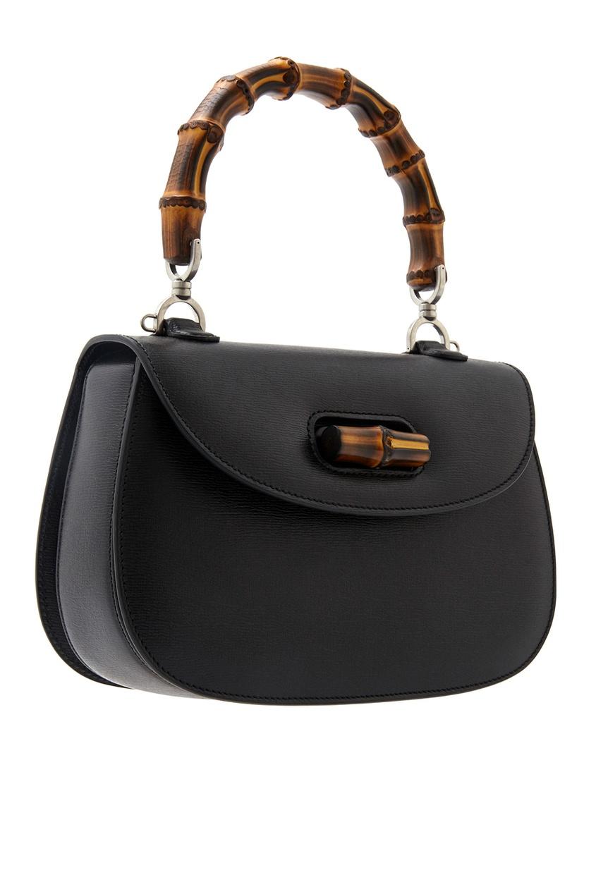 Фото 2 - Кожаная сумка Bamboo Classic Blooms от Gucci черного цвета