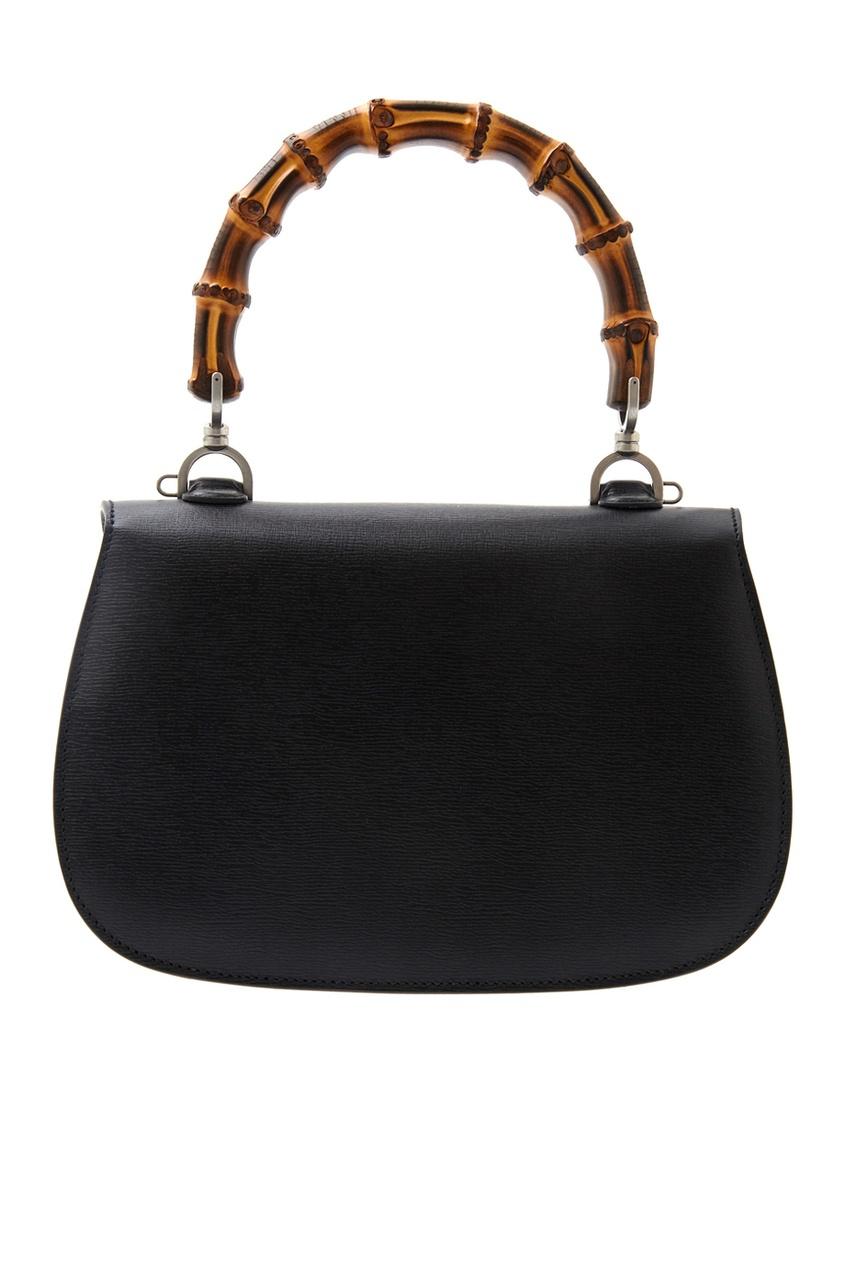 Фото 3 - Кожаная сумка Bamboo Classic Blooms от Gucci черного цвета