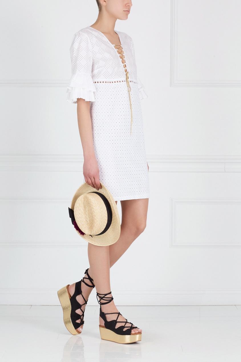 Фото 3 - Хлопковое платье от Just Cavalli белого цвета