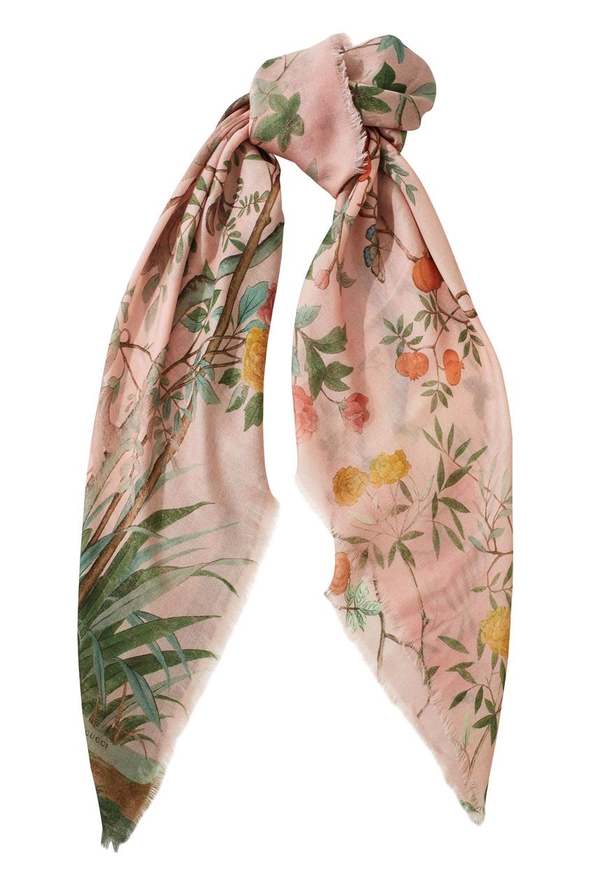 Фото 2 - Платок из шерсти и шелка от Gucci розового цвета