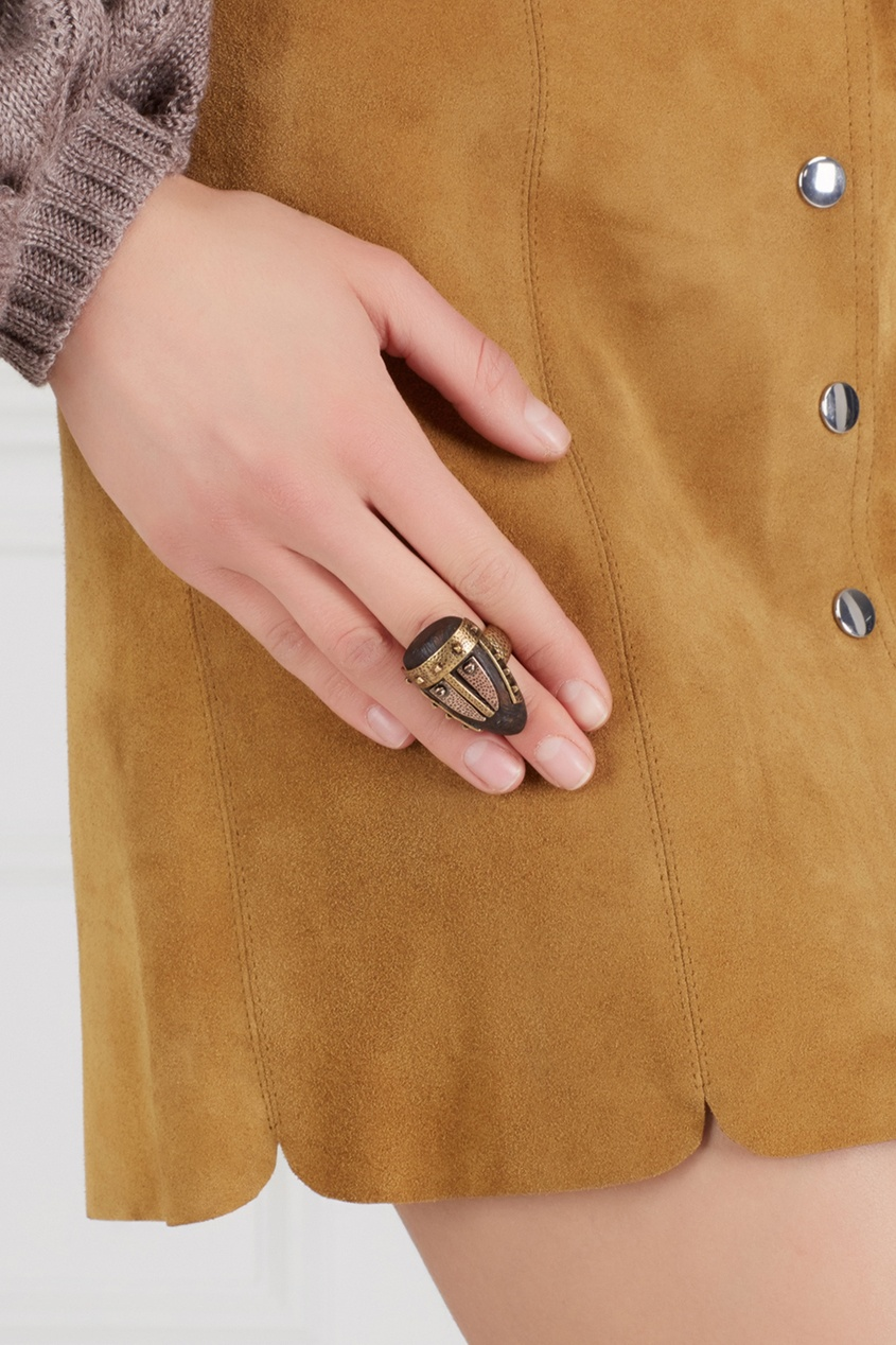 Valentino Кольцо из латуни и дерева