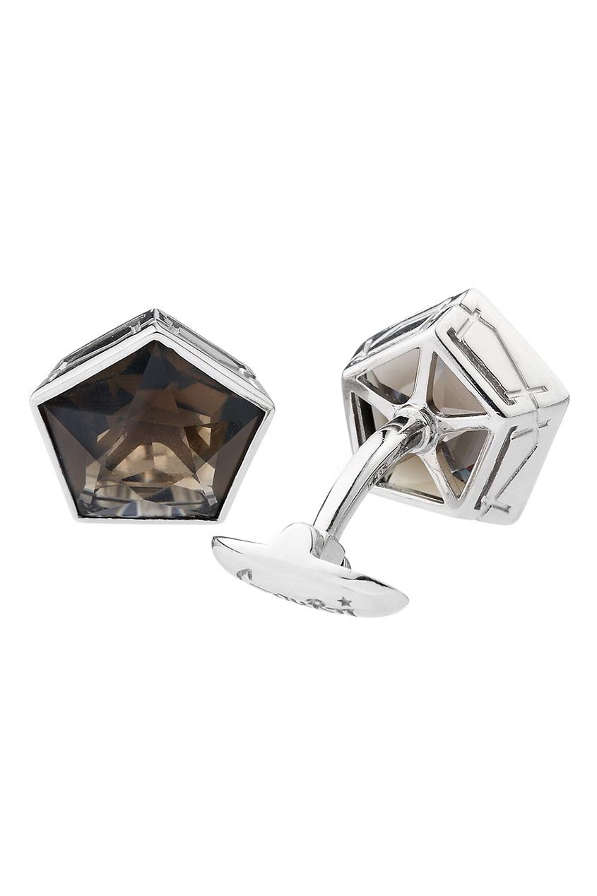 Gourji Серебряные запонки с дымчатым кварцем Gourji gourji серебряные запонки с кварцем волосатиком gourji