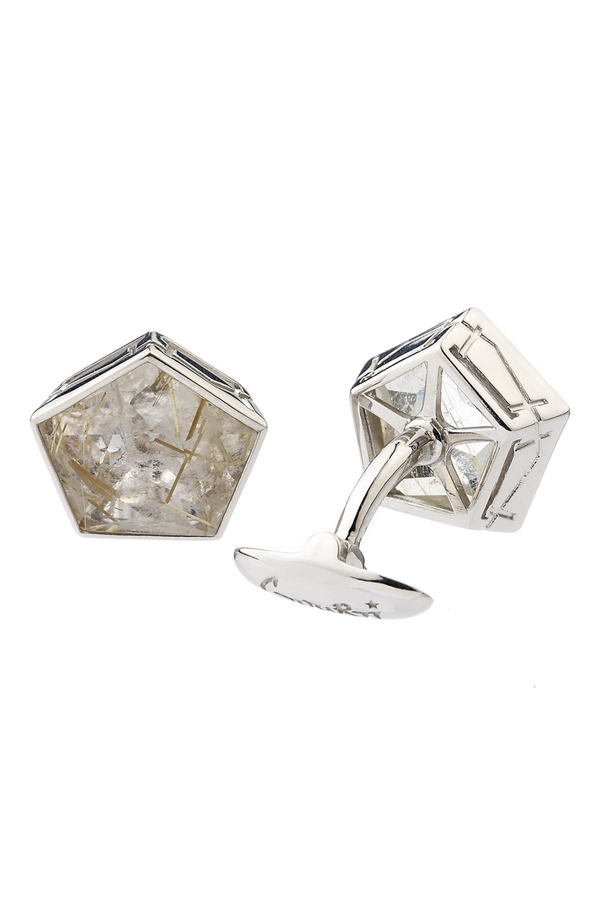 Серебряные запонки с кварцем-волосатиком Gourji