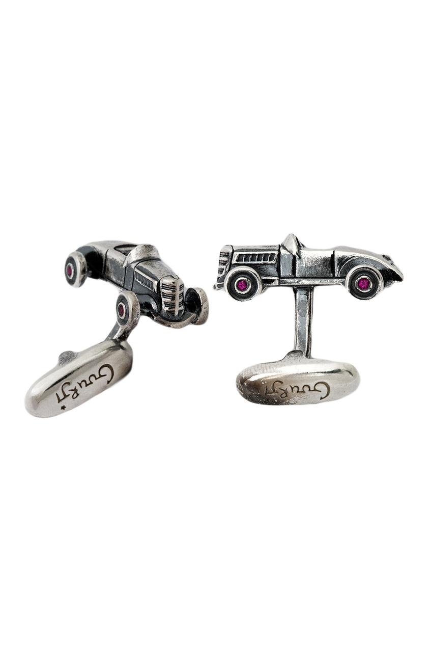 Серебряные запонки с рубинами «ГЛ-1»