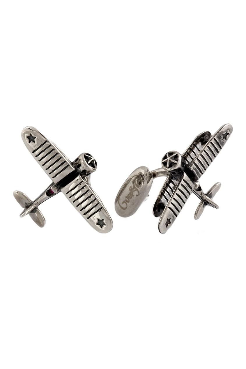 Серебряные запонки с рубинами «И-53»