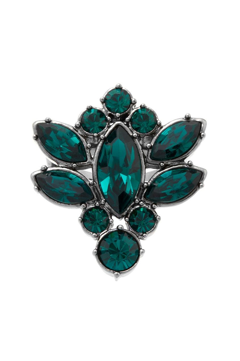 Фото 2 - Кольцо Rebel Romance с  кристаллами от Mawi зеленого цвета