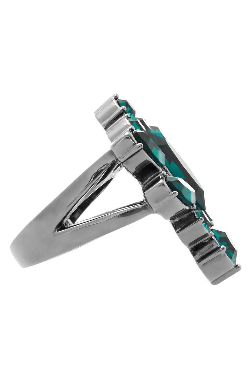 Фото 3 - Кольцо Rebel Romance с  кристаллами от Mawi зеленого цвета