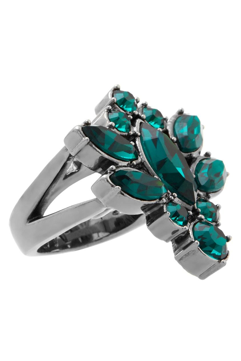 Фото 4 - Кольцо Rebel Romance с  кристаллами от Mawi зеленого цвета