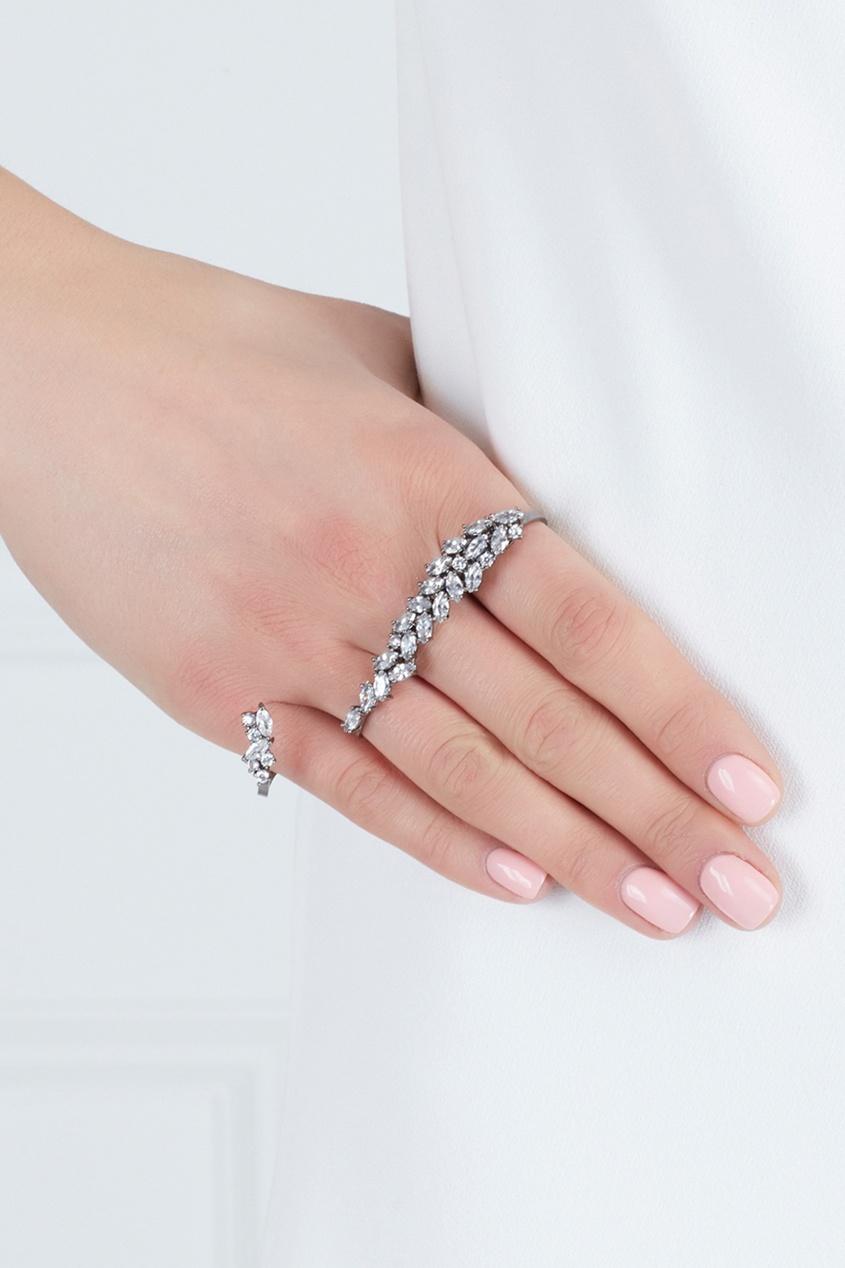 Кольцо с кристаллами на четыре пальца
