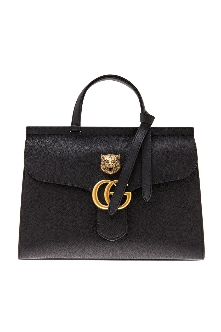 Gucci Кожаная сумка GG Marmont leather top handle bag gucci кожаная сумка gg marmont